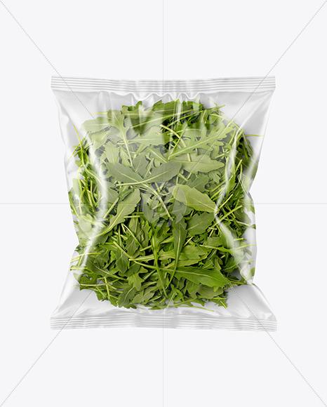 Plastic Bag With Rucola Salad Mockup