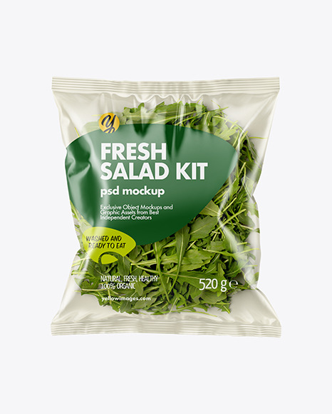 Download Plastic Bag With Rucola Salad PSD Mockup