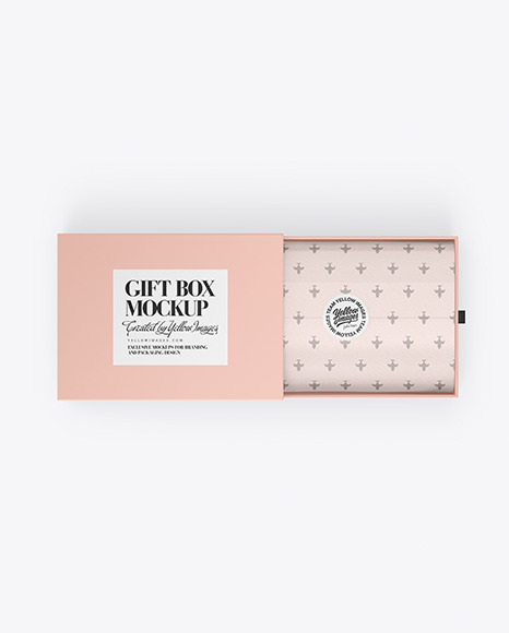 Download Opened Gift Paper Box PSD Mockup