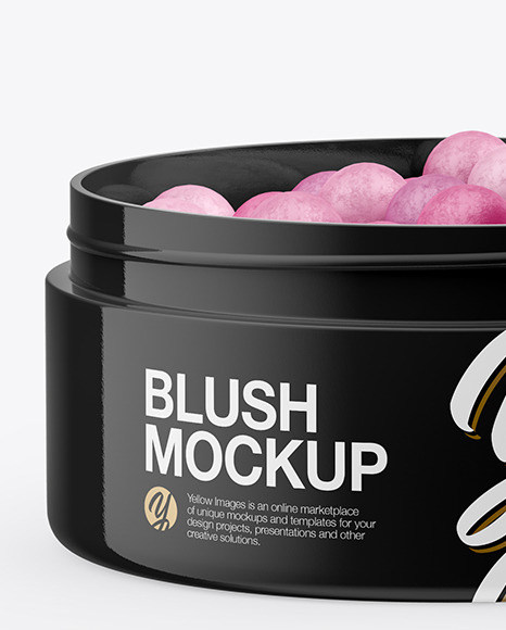 Glossy Jar with Blush Mockup