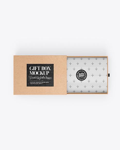 Download Opened Gift Kraft Box PSD Mockup