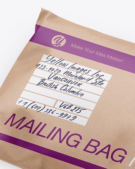 Kraft Mailing Bag Mockup - Half Side View