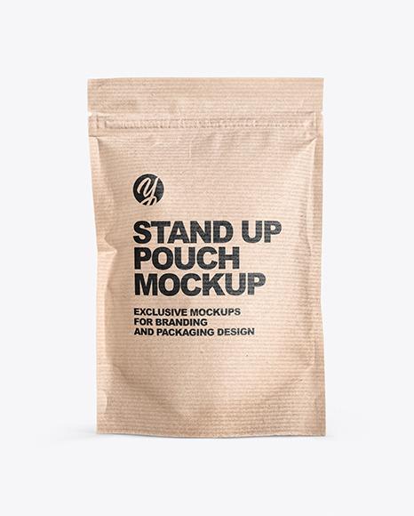 Download Kraft Stand Up Pouch W Zipper PSD Mockup