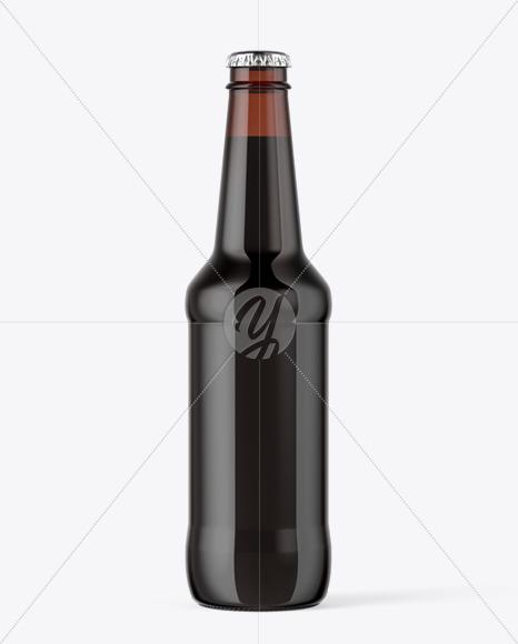330ml Amber Bottle With Dark Beer Mockup