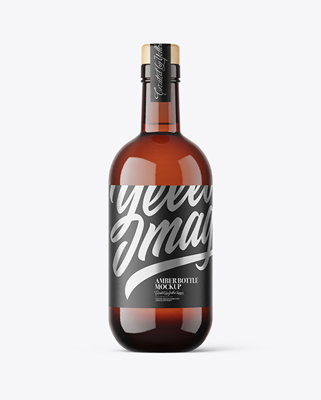 Amber Glass Vodka Bottle Mockup