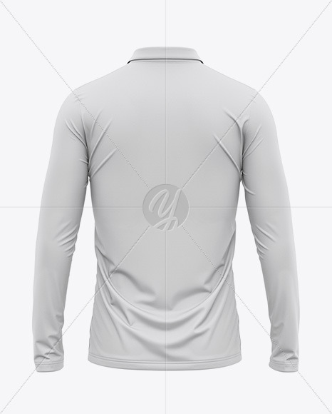 Men's Long Sleeve Polo Shirt - Back View