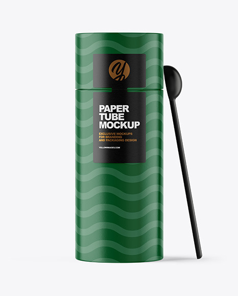 Paper Tube with Spoon Mockup