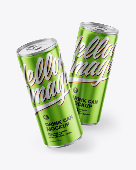 Download Two Glossy Metallic Cans PSD Mockup