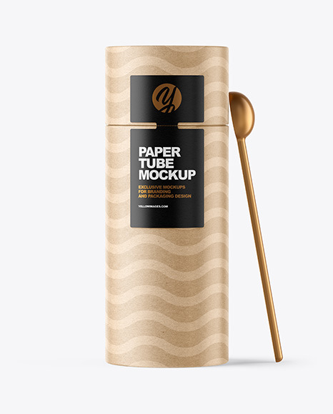 Download Kraft Paper Tube with Spoon PSD Mockup