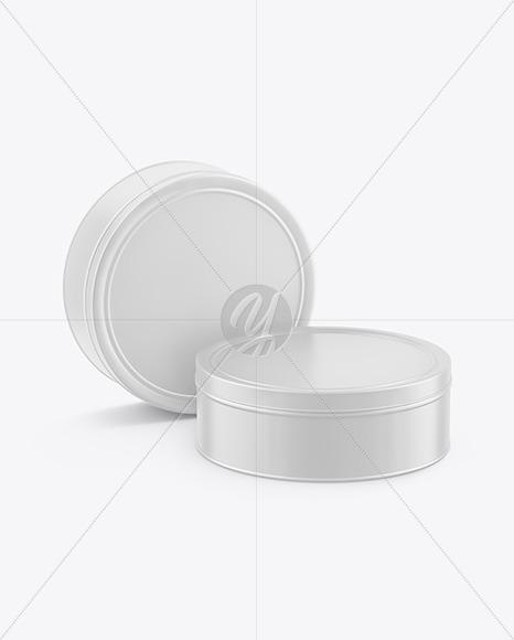 Two Matte Round Tin Boxes Mockup