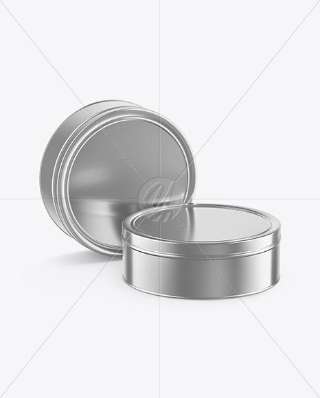 Two Metallic Round Tin Boxes Mockup