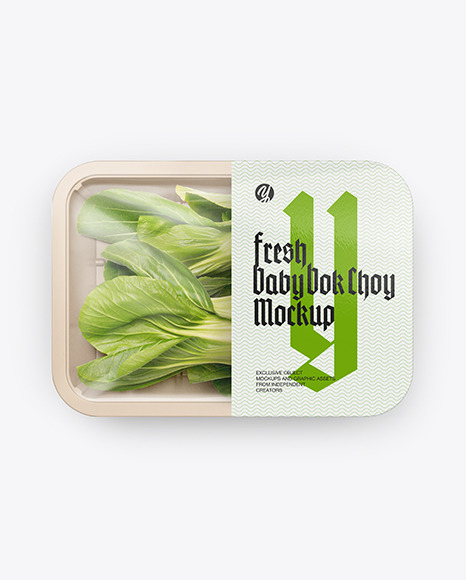 Download Plastic Tray With Bok Choy PSD Mockup