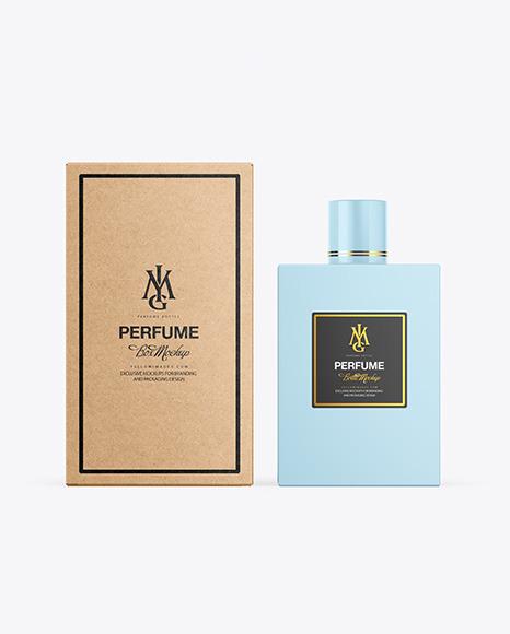 Download Kraft Box & Perfume Bottle PSD Mockup
