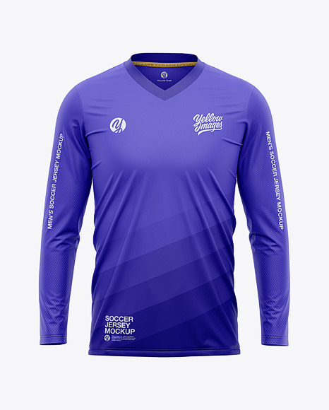 Men's Long Sleeve Soccer Jersey T-shirt Mockup - Front View - Football Jersey Soccer T-shirt
