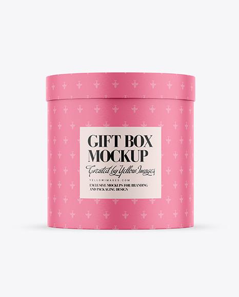 Round Gift Paper Box Mockup