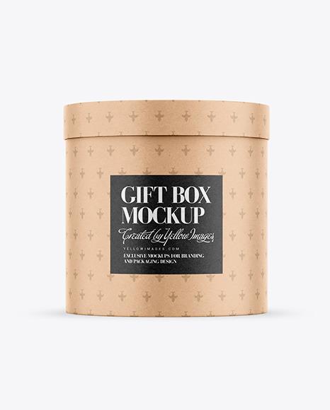 Round Gift Kraft Box Mockup