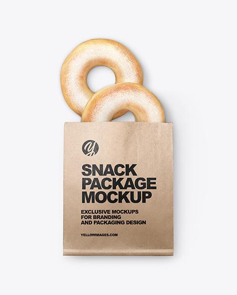 Kraft Package W Donuts Mockup In Packaging Mockups On Yellow