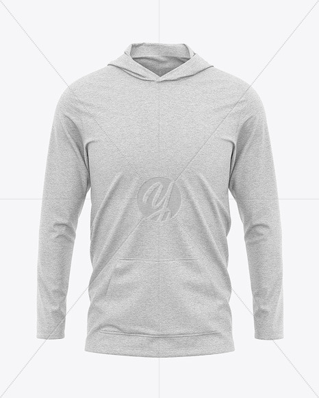 Men's Heather Lightweight Hoodie T-Shirt - Front View