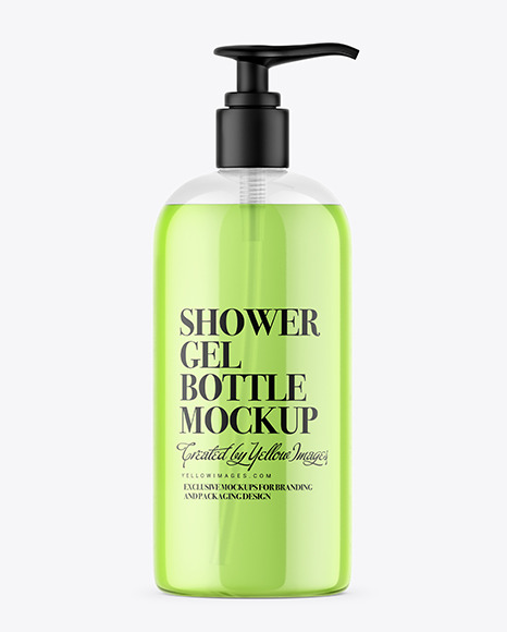 Clear Shower Gel Bottle with Pump Mockup
