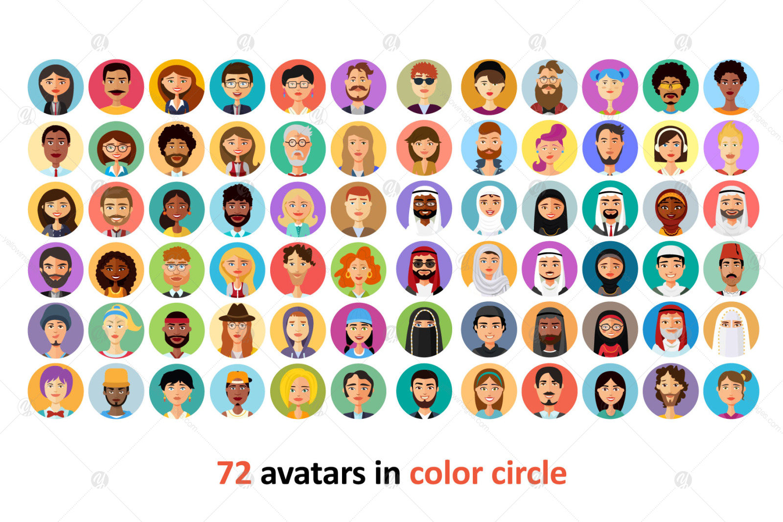 72 Avatar icons vector people collection