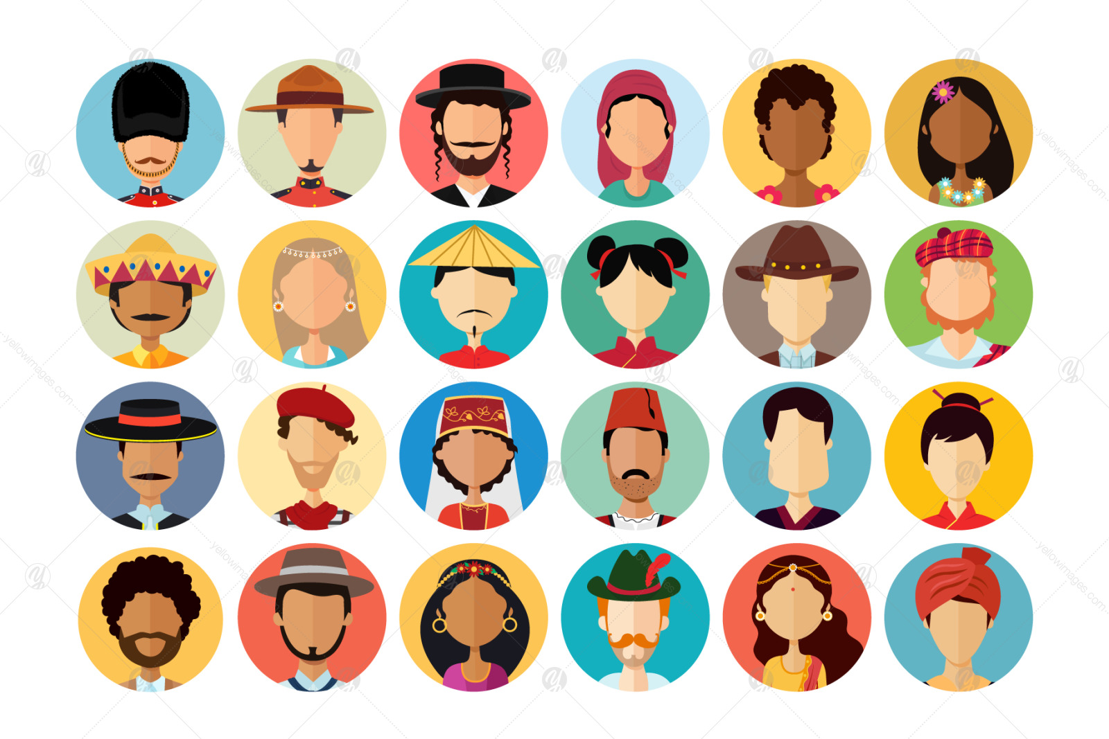 24 Avatars people national flat collection