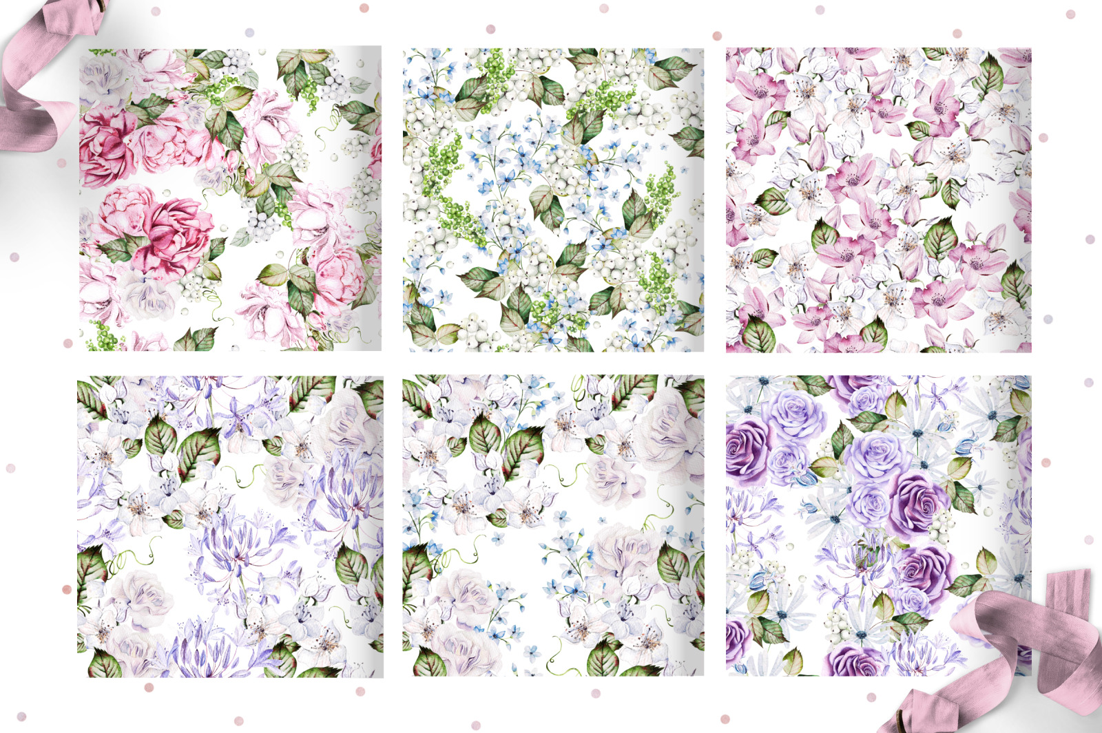 10 Watercolor Wedding Patterns