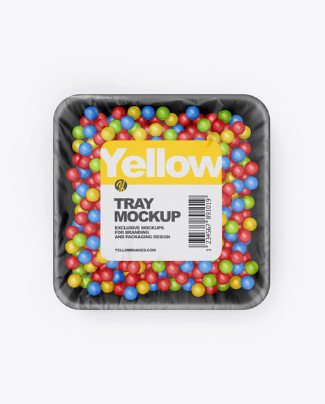 Plastic Tray With Candies Mockup