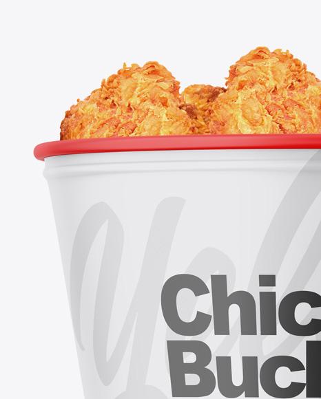 Matte Bucket With Chicken Mockup