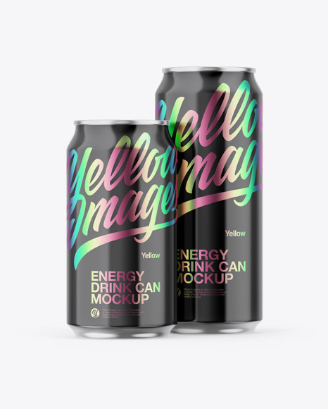 Download Two Metallic Cans W/ Glossy Finish Mockup in Can Mockups ...