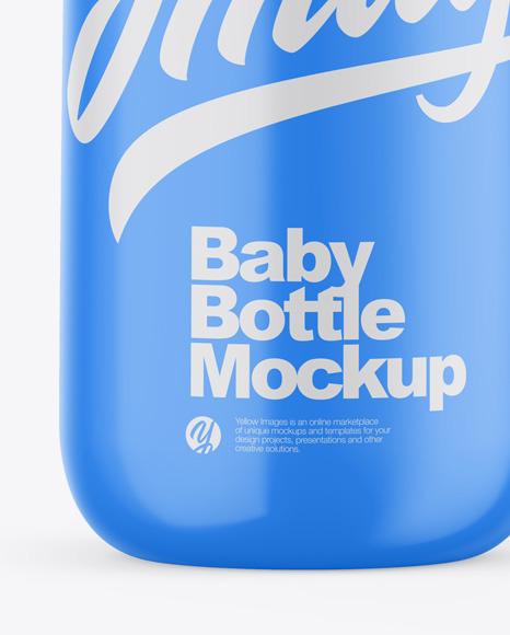 Glossy Baby Bottle Mockup