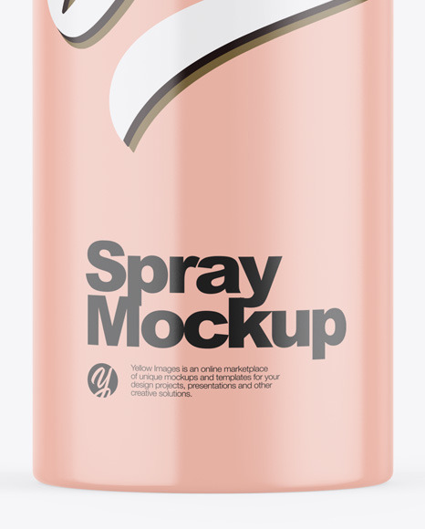 Glossy Aerosol Spray Bottle Mockup