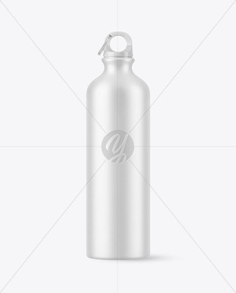 Matte Aluminum Sport Water Bottle with Ring for Carabiner Mockup
