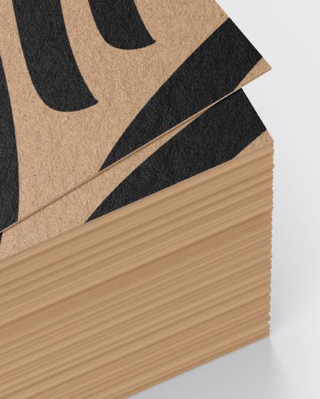 Stack of Kraft Business Cards Mockup