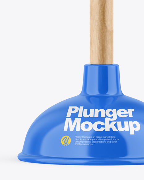 Glossy Plunger W/ Wooden Handle Mockup