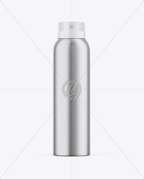 Glossy Metallic Aerosol Spray Bottle Mockup
