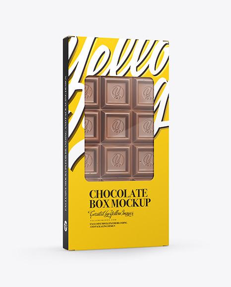 Glossy Chocolate Box W/ Window Mockup - Half Side View