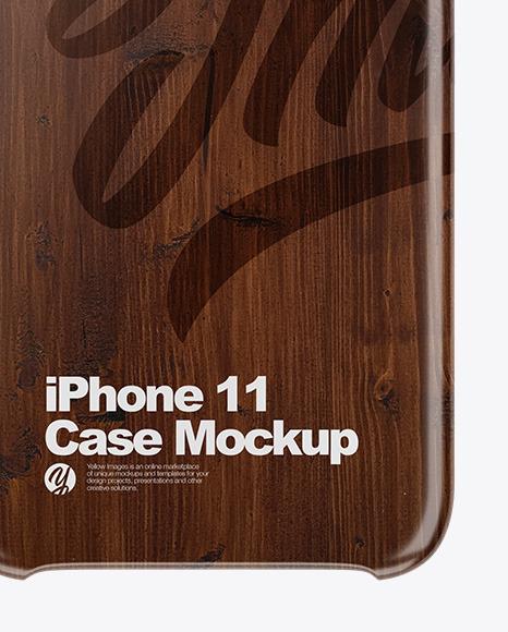 iPhone 11 Dark Wooden Case Mockup