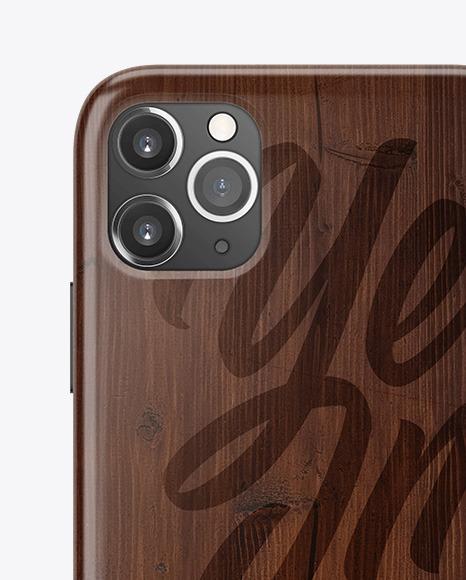 iPhone 11 Pro Dark Wooden Case Mockup