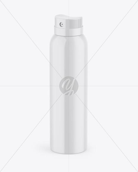 Glossy Aerosol Spray Bottle Mockup