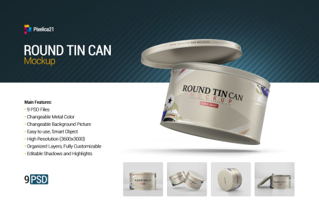 Download Round Tin Can Mockup In Packaging Mockups On Yellow Images Creative Store PSD Mockup Templates