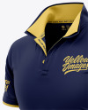 Italian / Raised Collar Short Sleeve Polo Shirt - Front Half Side View
