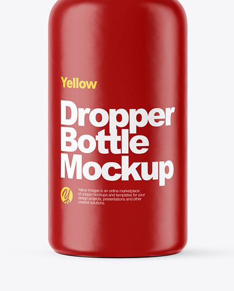 Frosted Amber Dropper Bottle W/ Shrink Sleeve Mockup