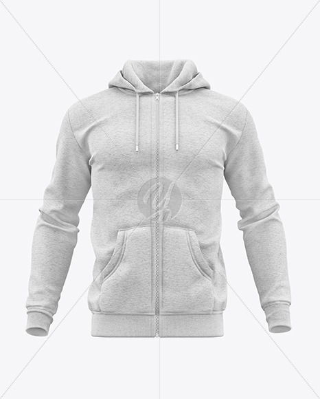 Download Mens Heather Full Zip Hoodie Mockup Right Half Side View Yellowimages