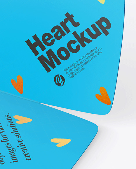 Two Heart Shaped Cards Mockup