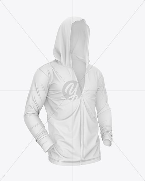 Full-Zip Hooded Sweatshirt Mockup – Front Half Side View