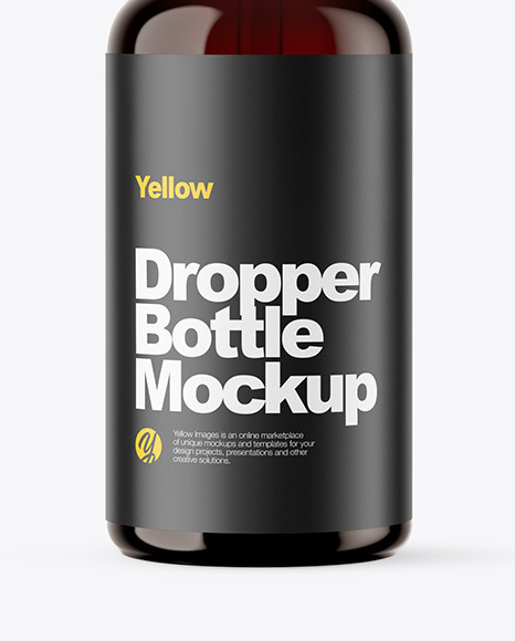 Amber Dropper Bottle W/ Shrink Sleeve Mockup