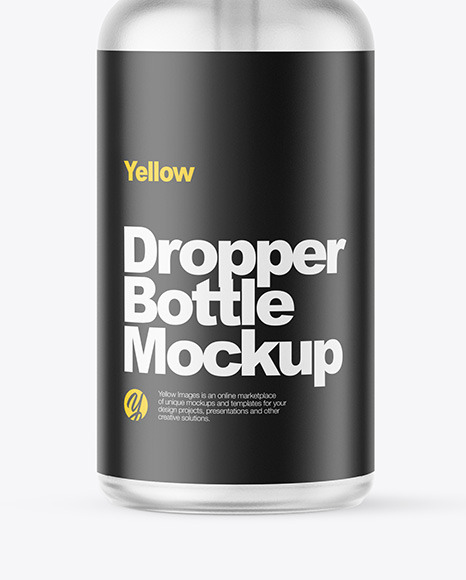 Frosted Dropper Bottle W/ Shrink Sleeve  Mockup