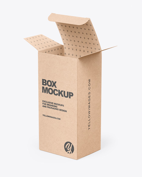 Opened Kraft Box Mockup In Box Mockups On Yellow Images Object Mockups