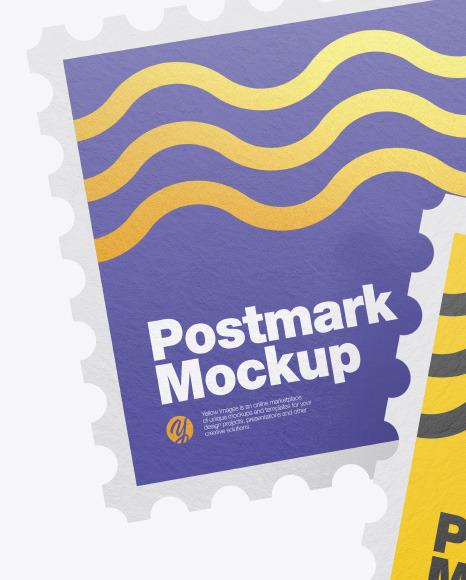 Textured Square Postmarks Mockup