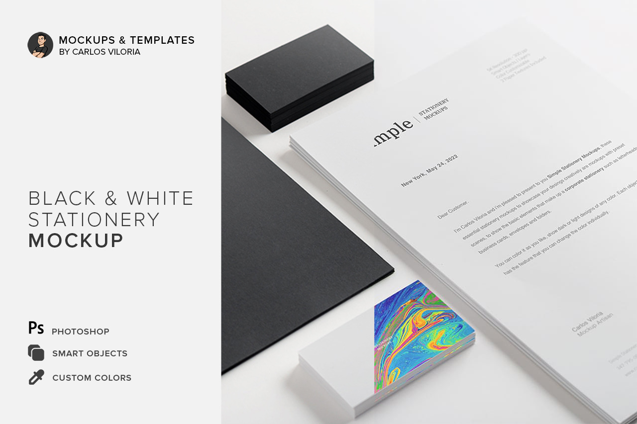 Black White Stationery Mockup 01 In Stationery Mockups On